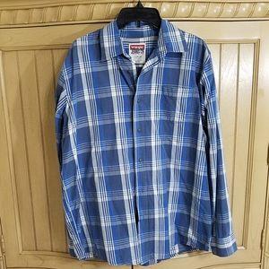 Blue Plaid Shirt, Wrangler, sz Large